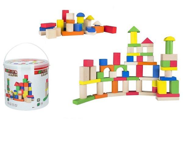 Imagen de Bloques de Construcción de Madera Cubo 100 Piezas