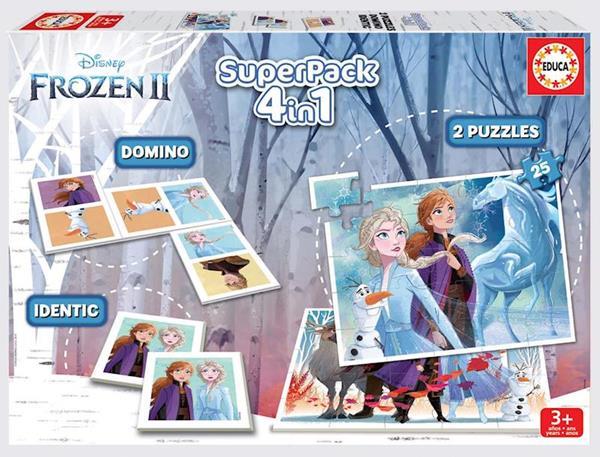 Imagen de Superpack 4 en 1 Frozen (Domino, Identic, 2 Puzzles) Educa