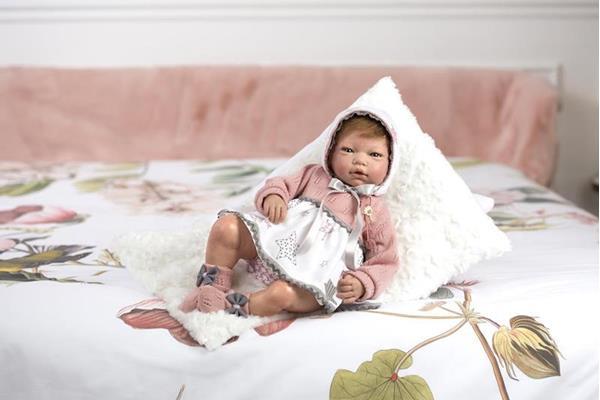 Imagen de Muñeca Reborn Macarena Morena Vestido Capota Rosa Lana