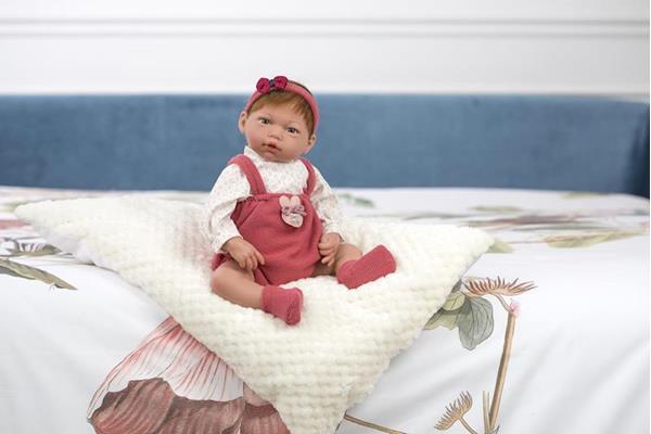 Imagen de Muñeca Reborn Roma Morena Pelele Rosa y Camisa Huellas 38 cm