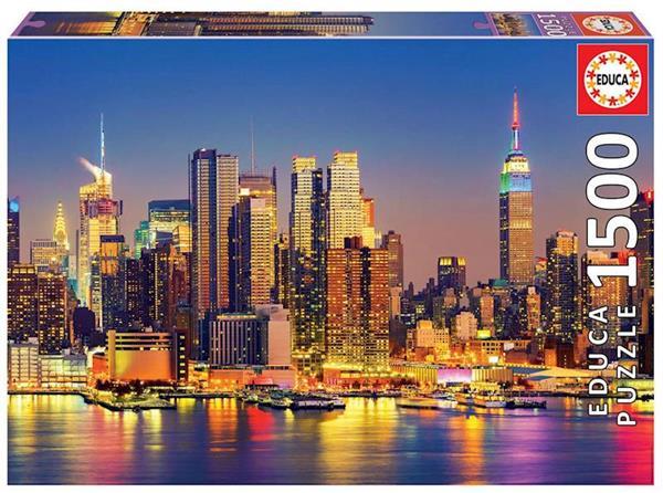 Imagen de Puzzle 1500 piezas Manhattan de noche Educa
