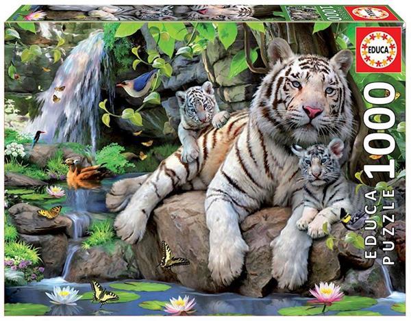 Imagen de Puzzle 1000 piezas Tigres blancos de bengala Educa