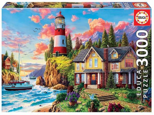 Imagen de Puzzle 3000 Piezas Faro Cerca Del Océano De Educa