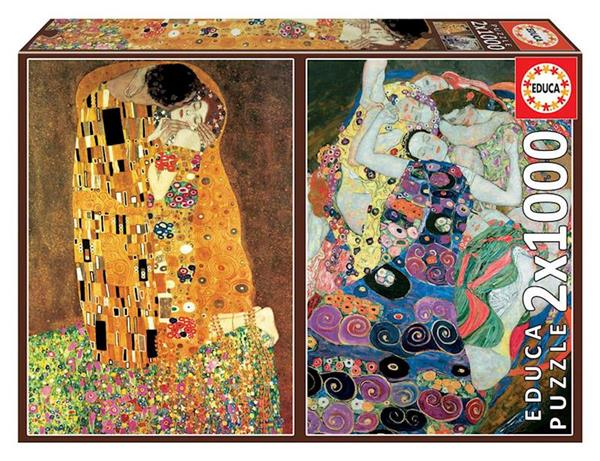 Imagen de Puzzle 2x1000 El Beso y La Virgen de Gustav Klimit