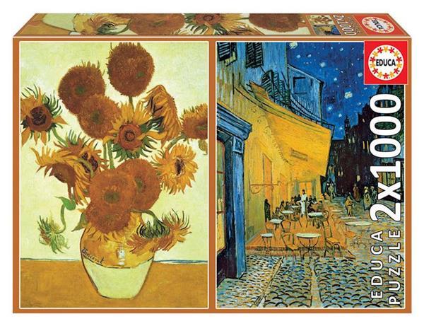 Imagen de Puzzle 2x1000 Los Girasoles y Terraza de café por la Noche de V. Van Gogh