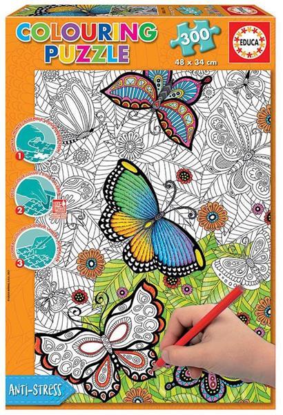 Imagen de Puzzle 300 piezas Colorear Mariposas Mandala