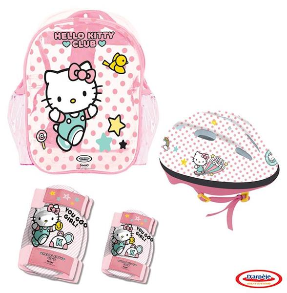 Imagen de Casco con Protecciones en Mochila de Hello Kitty