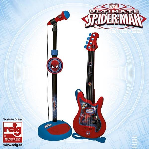 Imagen de Guitarra y Micrófono de Pie de Spiderman con Amplificador