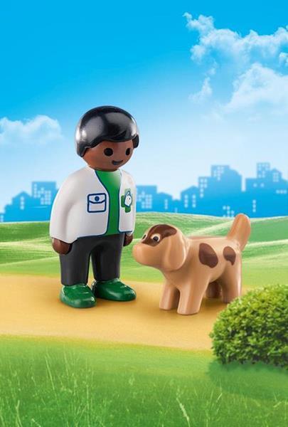 Imagen de Playmobil 1.2.3 Veterinario con Perro