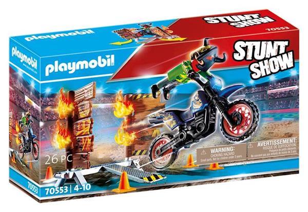 Imagen de Playmobil Stuntshow Moto con muro de fuego