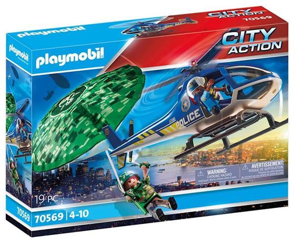 Imagen de Playmobil City Action Helicóptero de Policía Persecución en Paracaídas