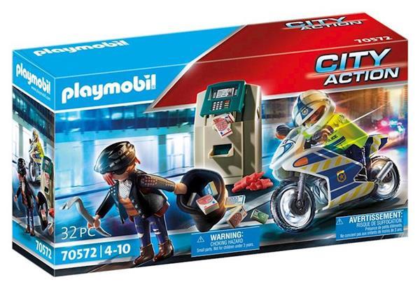 Imagen de Playmobil City Action Moto de Policía Persecución del Ladrón de Dinero