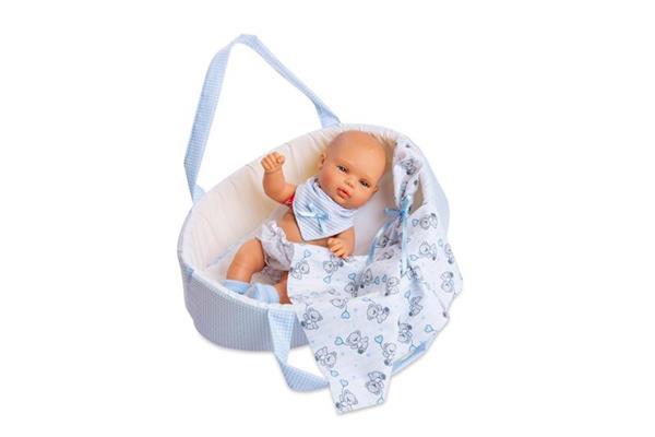 Imagen de muñeco baby smile canastilla azul