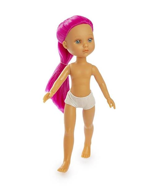 Imagen de Muñeca Eva Pelo Rosa Desnuda En Bolsa