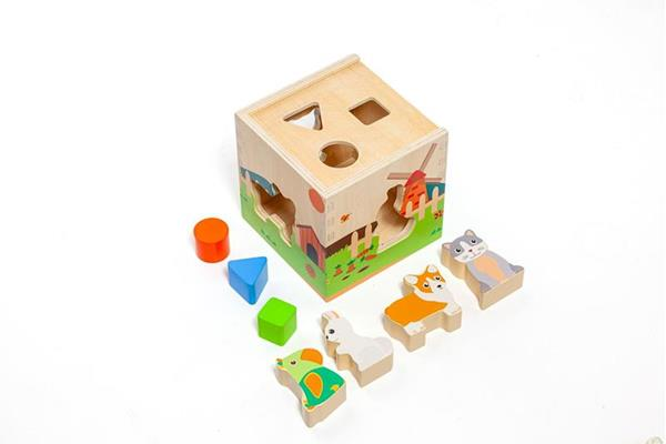 Imagen de Cubo de Madera con Animales