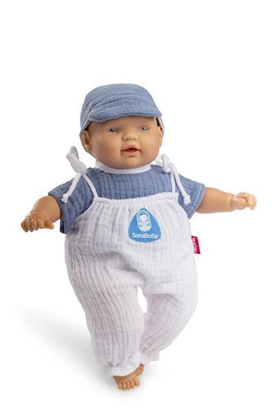 Imagen de SaniBaby Muñeca Bebé Antibacterias Gorro Azul
