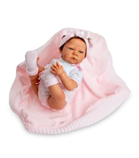 Muñeca Sweet Reborn con toquilla rosa