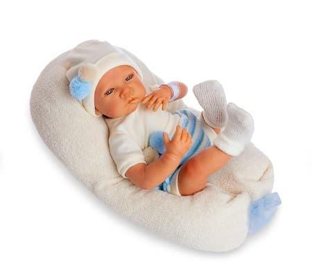 Sweet Reborn con mecanismo con toquilla de lana azul